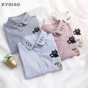 KYQIAO Striped shirt 2018 mori girls spring autumn Japanese style long sleeve blue pink beige cat embroidery blouse top blusa