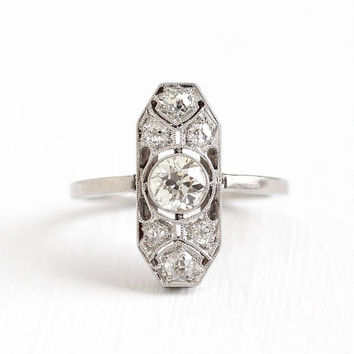 Antique Platinum .74 CTW Diamond Ring - Size 5 1/2 Vintage Fine Old European Engagement Bridal Wedding Shield Jewelry with Appraisal