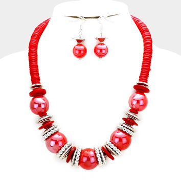 Chunky Red & Silver Bead wood disc cluster bib necklace and earring set