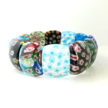 Millefiori Glass Bead Stretch Bracelet, Vintage Italian Art Glass Jewelry, Chipped Bead