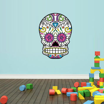 Full Color Wall Decal Mural Sticker Decor Art Beautyfull Cute Sugar Skull Bedroom Curly modern fashion (col563)