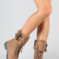 Roxy-01 Buckle Lace Up Military Mid Calf Boot