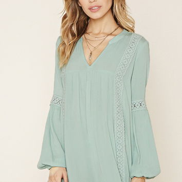 Crocheted Split-Neck Mini Dress | Forever 21 - 2000186767