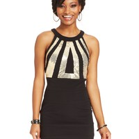 Roberta Juniors' Sequin Banded Bodycon Dress
