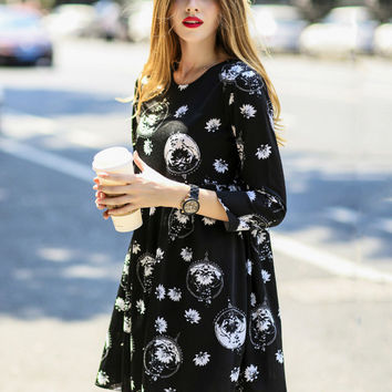 Black Lotus Floral Print Pleated Mini Dress