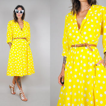 vtg 80's yellow POLKA DOT pocket SHIRT dress Batwing full circle skirt wrap Cotton deep-v