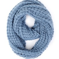Paula Bianco Chunky Infinity Scarf in Faded Denim