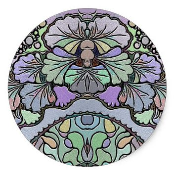 Old world purple pansy tile print sticker