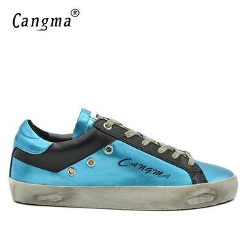 CANGMA Brand Sneakers Designer Casual Shoes Men Blue Black Spring Breathable Genuine Leather Male Leisure Shoes Uomo 34-48