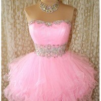 Likable Pink Ball Gown Scoop Neckline Mini Prom Dress