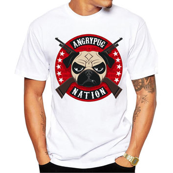 Angry Pug Nation Men's Short Sleeve Casual White T-Shirt