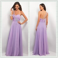 FancyGirl — Purple A-line Chiffon Floor-Length Prom Dress/Graduation Dress