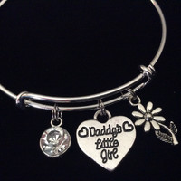 Daddy's Little Girl with Diamond Crystal April Birthstone Bracelet Silver Expandable Adjustable Wire Bangle Charm Bracelet Kid's