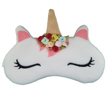 Dainty Unicorn with Satin Roses Sleep Mask