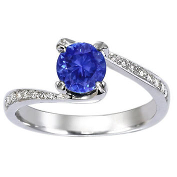 Sapphire Seacrest Ring with Diamond Accents in Platinum