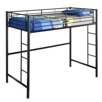 Walker Edison Sunset Metal Twin Loft/Bunk Bed, Black