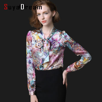 Women Print Blouse REAL Silk Satin Women Blouses Bow tie collar shirt Blusas femininas PLUS SIZE STRETCH 2017 NEW