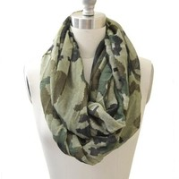 Camouflage Infinity Scarf Green and Lime Color