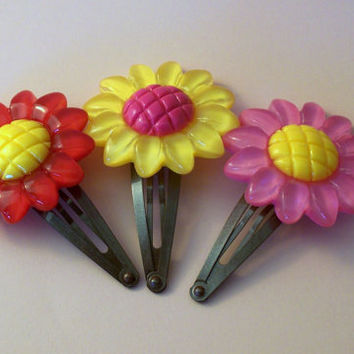 Flower Embellished Snap Clips (set of 3), Pink Flower Snap Clip, Yellow Flower Snap Clip, Child Snap Clip, Child Hair Accessory