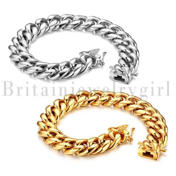 """8.46"""" Stainless Steel Cuban Curb Polished Link Chain Bracelet for Men Boys*14MM"""