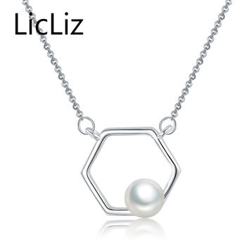 LicLiz natural freshwater pearl necklace choker pendant 925 sterling silver links chains collar necklace with big charms CLN0193