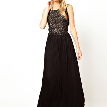 Mango Lace Belted Jersey Maxi Dress