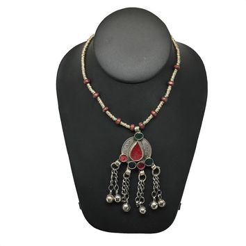 Handmade Vintage Afghan Tribal Kuchi Coin Chained Bells Necklace, KN313