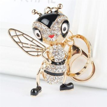 LMFGC3 Lovely Bee Honeybee Pendant Charm Rhinestone Crystal Purse Bag Keyring Key Chain Accessories Wedding Party Gift