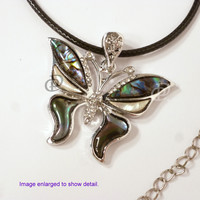 Silver Tone Butterfly Paua Abalone Shell Pendant Necklace Cord