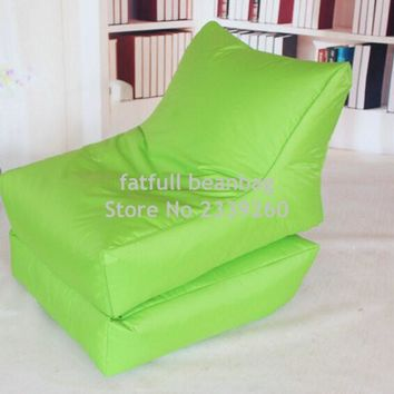 COVER ONLY,no filler -Folding bean bag chair, outdoor garden sofa beanbag set , foldable patio furniture - Green