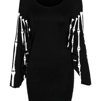 Black Skeleton Hand Print Bat Sleeve Bodycon Dress