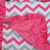 Preorder pink and gray chevron Minky blanket
