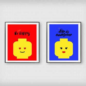 Lego print Printable art Nursery wall decor Boys room decor Girls room Funny Lego Funny prints Digital print Instant download Set of 2