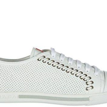 Prada Women's Shoes Leather Trainers Sneakers Nappa Sport White