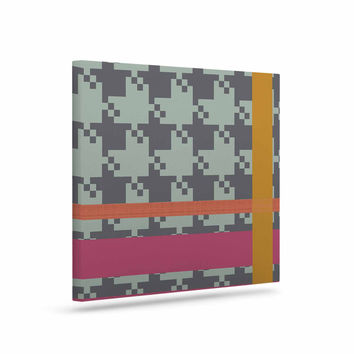 "Pellerina Design ""Houndstooth Color Block"" Multicolor Contemporary Canvas Art"