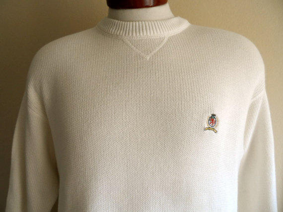 83b03c6be vintage 90's Tommy Hilfiger ivory white cotton knit sweater embroidered  griffin crest logo men women unisex