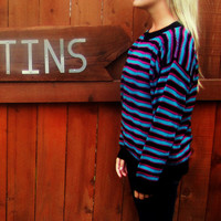 vintage 80s fuschia teal green black striped sweater