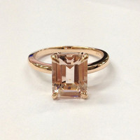 Morganite Engagement Ring 14K Rose Gold!7x9mm Emerald Cut Morganite Solitaire Ring,Wedding Bridal Ring,Claw Prongs,Can make matching Band