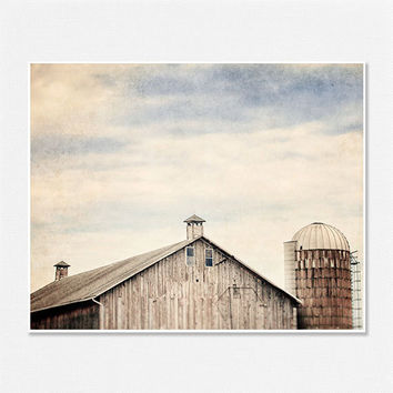 Barn Landscape Photo - Barn Picture, Silo, Sky, Cupola - McKean Pennsylvania Farm - Country Landscape Decor 8x10 - Grey, Brown, Blue.