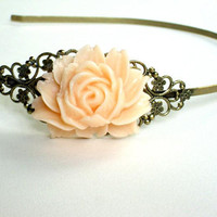 Brass headband with salmon colored rose resin cabochon