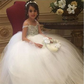 Sparkly Rhinestones Glitz Pageant Dresses Hot Design Little Girl Ball Gowns Flower Girls Dresses with Crystals