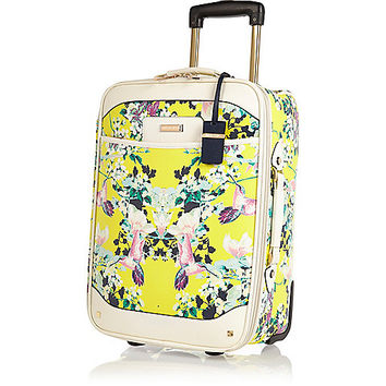 River Island Womens Yellow floral print suitcase