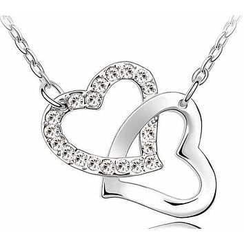 Crystal Studded Linked Hearts Pendant Necklace