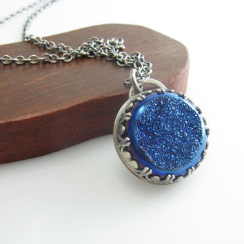 Cobalt Blue Druzy Quartz Celestial Pendant Necklace Moon and Star Pendant Necklace Sterling Silver Handmade Metal Jewelry