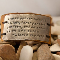 Leather Cuff, you're braver than you believe, bracelet