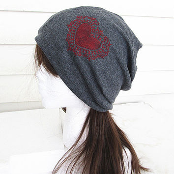 Valentine Oversized Beanie Hat-Black-Baggy Hat- Head Wrap- Slouch Cap-Hippie Hat