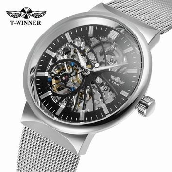 Winner Transparent Steampunk Montre Homme Black Retro Casual Mens Watches Top Brand Luxury Full Steel Skeleton Mechanical Watch
