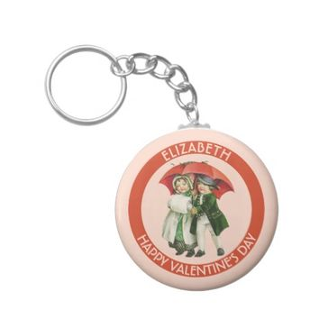 Vintage Valentine Cute Girl And Boy Personalized Basic Round Button Keychain