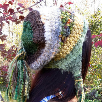 Crochet Hippie beanie hat. braids and tassel slouch hat. Made by ead Gs on ETSY. Ladies size.