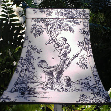 Toile Lamp Shade/Chandelier/ Square Bell Frame/ Black,Off-White  Cotton Upholstery Fabric  Black Grosgrain Ribbon/Handmade Trim/Torpedo Clip
